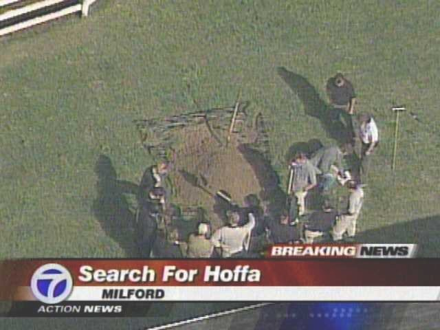 FBI Agents digging for Hoffa's remains in an open field — which is part of a farmhouse in Milford Township, Michigan on May 17, 2006. As reported by ABC station WXYZ-TV in Detroit.