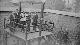 A snapshot of the execution of Stanislaus La Croix in Hull, Que., on March 21, 1902. It was not until 1976 that Canada abolished civilian capital punishment — after a total of 710 people had been sent to the gallows. (National Archives of Canada/Canadian Press)