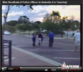 Man headbutts cop in Australia for tasering